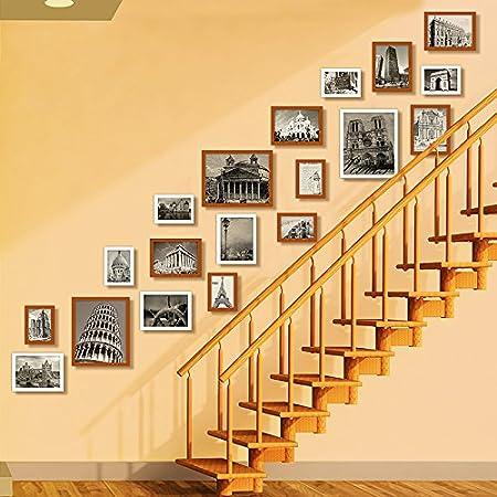 Marco de fotos HJKY pared conjunto escaleras de madera sólida combinación de pared foto regalos de boda creativas para productos nuevos muros del bastidor de montaje en pared, blanco + Nogal: Amazon.es: