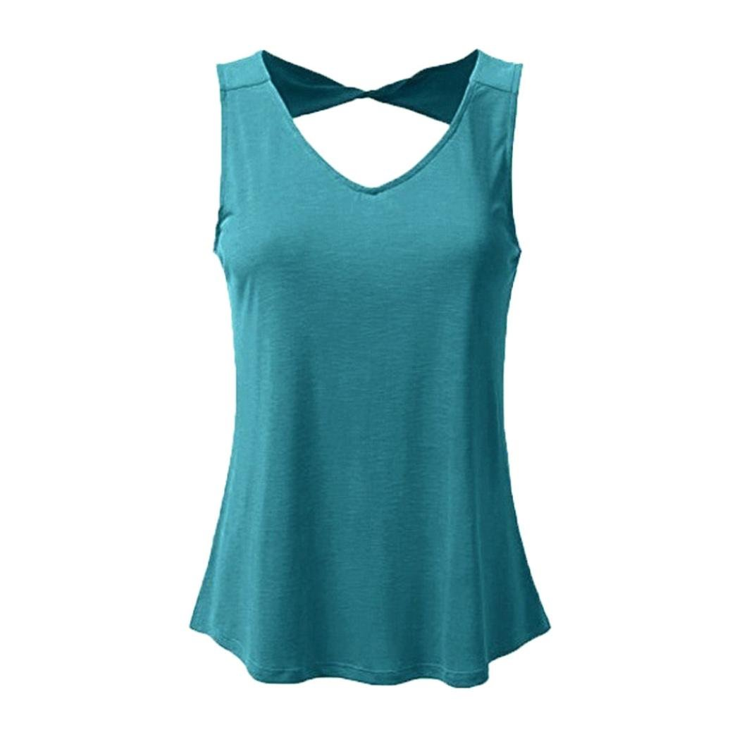 Gocheaper Women Plus Size Vest Hollow Out Casual Solid V Neck Sleeveless Tank Tops Fashion Shirt (S, Blue)