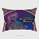 Custom Satin Pillowcase Protector Ornament Beautiful Card With Girl Belly Dance Mehenidi Element Hand Drawn Perfect Cards For Any 311432423 Pillow Case Covers Decorative