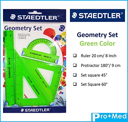 STAEDTLER GEOMETRY SETS ruler math education Set 4 pieces Drawing Graphic Examination (Green) Florida Keys Chart Book