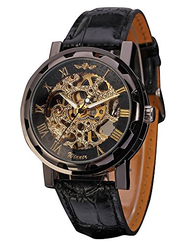 Mens Mechanical Wrist Watch with Elegant Skeleton Dial Black
