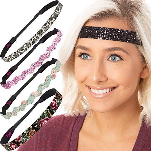 6c5081f99 Hipsy Cute Fashion Adjustable No Slip Hairband Headbands for Women Girls &  Teens (Flowers of Love 5pk)