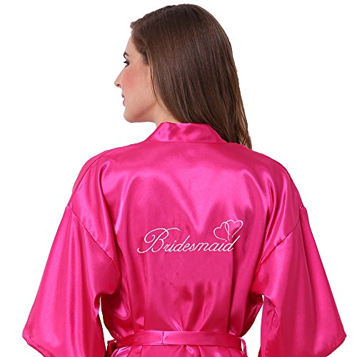 Joytton Women's Satin Kinono Robe with Embroidered Bridesmaid Short Fuchsia M