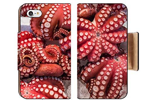 Luxlady Premium Apple iPhone 8 Flip Pu Wallet Case Image ID: 35592186 Red Live Octopus at Tsukiji Fish Market Tokyo Japan ()