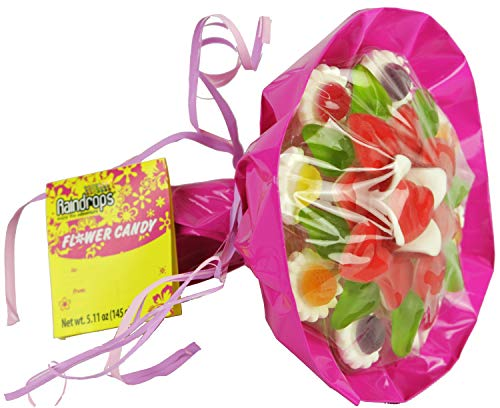 Mothers Day Candy Bouquet - Raindrops Flower Gummy and Soft Candy Bouquet, 5.11 Ounces, Colors Vary