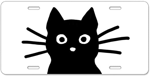 Vanity Tag Aluminum License Plate Front License Plate Cat on The Treetop Enjoys The moon Antique Auto Tag 6x12 Aluminum Vintage Sign