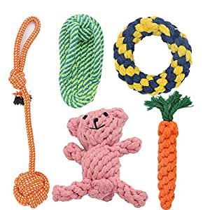 VIOMO 5 Pack Dog Toys Gift Set, Ball Rope and Chew Squeaky Toys for Medium to Small Dog