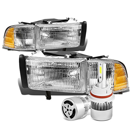 For Dodge Ram BR/BE Pair of Chrome Housing Amber Signal OE Style Replacement Headligt + 9004 LED Conversion Kit W/Fan