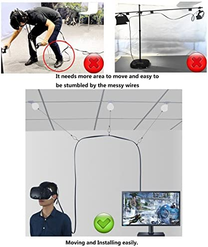 8 Packs White for HTC Vive/Vive Pro New Retractable Cable Management New Version System for HTC Vive Virtual Reality Headset- MIDWEC Adhesive Drill Free 51xRjfbuLkL