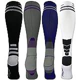 4 Pair Medium/Large Athletic Premium Quality Extra Soft Moderate/Medium Graduated Compression Socks 15-20 mmHg. Nurses, Running, Travel & Flight Knee-High Socks, Mens and Womens Comfort Blend (CA)