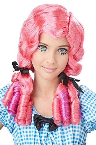 Mememall Fashion Doll Curls Japanese Anime Child Costume Wig - Pink / Magenta (Pink Power Ranger Toddler Costume)