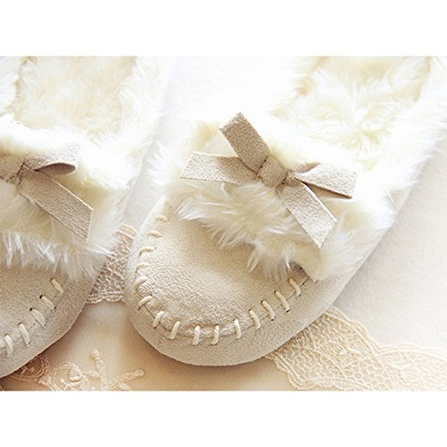 Imitation Plush Leather Warm Eastlion Slippers Beige Thick Shoes Home Cloth qIx55SFw