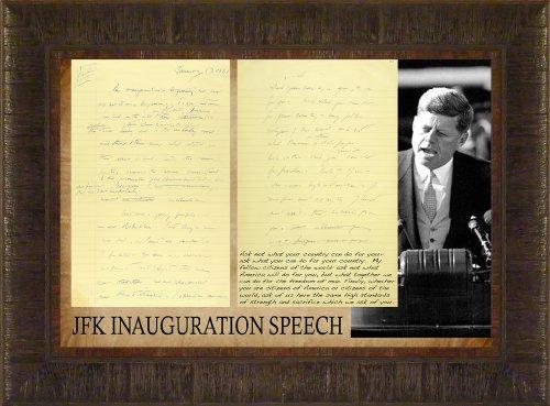 JFK Inauguration Speech By Todd Thunstedt 17.5x23.5 Patriotic American President John F. Kennedy Speech Framed Art Print Wall Décor Picture