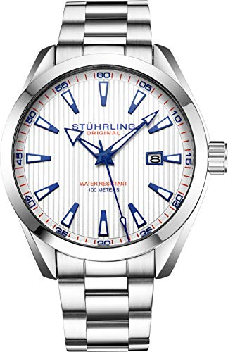 Stuhrling Original Mens Wrist Watch White Analog Dial with Date - Stainless Steel Silver Bracelet, 3953 Luxury Watches for Men Collection