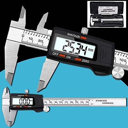 LIZANAN Caliper Black Plastic Head Stainless Steel Vernier Caliper 0-150mm Electronic Digital Caliper Inner and Outer Diameter Measuring Tool (Size : 0-150mm) Digital Caliper