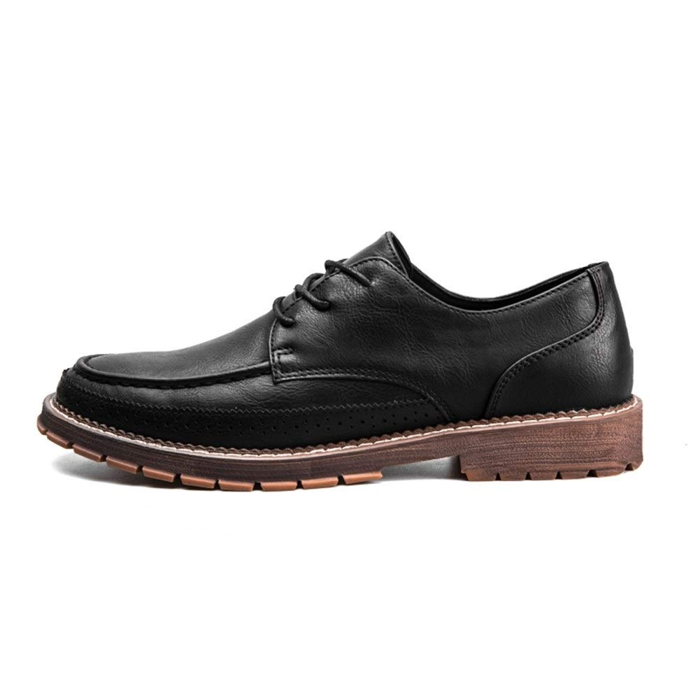 Hilotu Men's Casual Walking Shose Round Toe Oxford Formal Dress Shoes Classic Lace Up Business Shoes (Color : Black, Size : 7.5 M US) by Hilotu-Men's Shoes