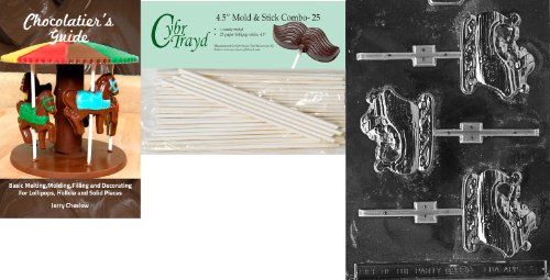 Cybrtrayd 'Sleigh Lolly' Christmas Chocolate Candy Mold with 25 4.5-Inch Lollipop Sticks and Chocolatier's Guide (Christmas Sleighs Lolly)