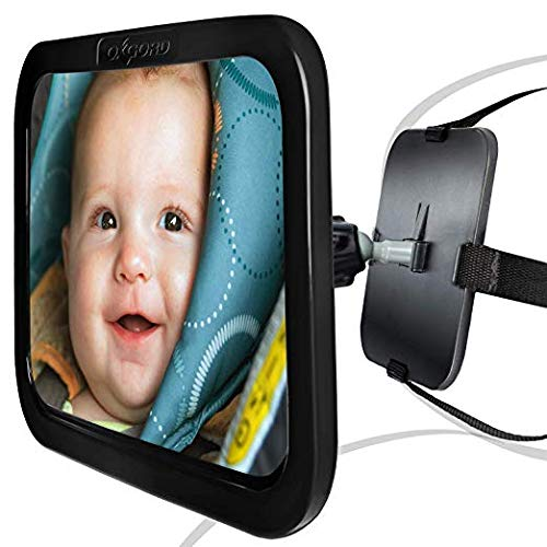 (OxGord Baby Car Mirror for Rear View - Facing Back Seat for Infant Toddler Child in Car Seat- 360 Adjustable & Double Straps)