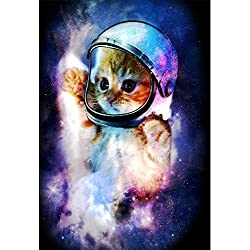 "Astronaut Cat in Space Poster (Large (18""x24""))"