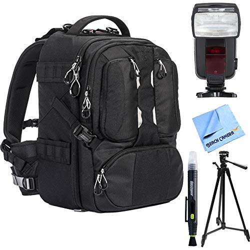 (Tamrac Anvil 17 Photo DSLR Camera and Laptop Backpack (Black) - T0220-1919 with Flash Power Zoom Bundle for Canon )