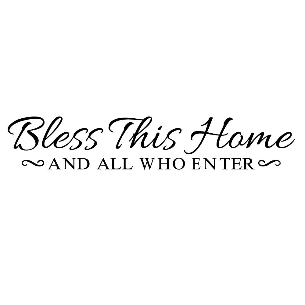 ZSSZ Bless This Home and All WHO Enter - Wall Decal Christian Quotes Wall Stickers Vinyl Art Letters Religious Home Decor
