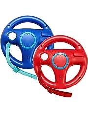 Jadebones 2 Pack Mario Kart Racing Steering Wheel with Wrist Strap for Nintendo Wii Remote Controller (Red+Blue)