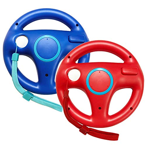 - Jadebones 2 Pack Mario Kart Racing Steering Wheel with Wrist Strap for Nintendo Wii Remote Controller (Red+Blue)