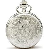 SEWOR Classical Flower Case Quartz Pocket Watch Shell Dial With Two Type Chain(Leather+Metal) (Sliver)