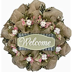 Southern Charm Cotton Blossoms With Magnolia Ribbons Floral Deco Mesh Wreath 35