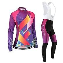 Cycling jersey Set, Maillot de Cyclisme Women Femme Long sleeve Manches Longues(S~5XL,option:bib Cuissard,3D pad Coussin) N244