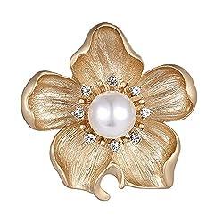 Crystal Pearl Flower Brooch for Women