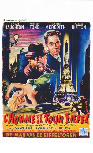 The Man on the Eiffel Tower Movie Poster (14 x 22 Inches - 36cm x 56cm) (1949) Belgian -(Charles Laughton)(Franchot Tone)(Burgess Meredith)(Robert Hutton)(Jean Wallace)