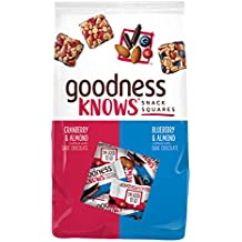 goodnessKNOWS Variety Cranberry Almond & Blueberry Almond Dark Chocolate Gluten Free Individually Wrapped Snack Squares 22.8-Ounce 70-Count Bag