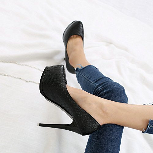 With Work Heeled Waterproof Shallow Temperament Leisure Spring Wrinkles MDRW Shoes 13Cm Skin Mouth Match Lady Embossed Fine Sexy All Shoes High 37 Elegant Black 41xwaf