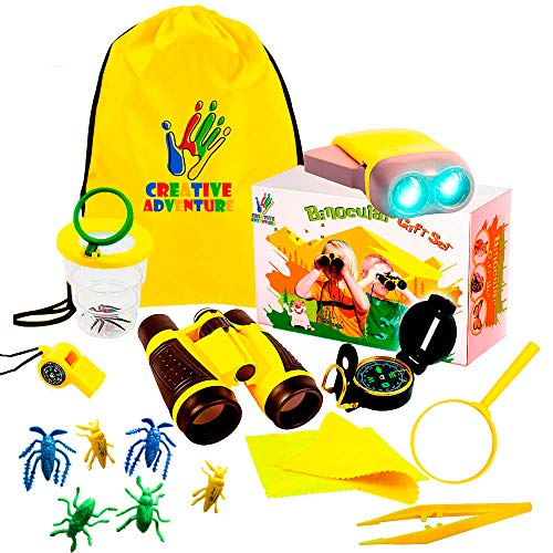 Outdoor Exploration 17 Piece Kit |Kids Binocular, 7 pretend Bugs and collector, Flashlight, Compass, Magnifying Glass, Whistle & Backpack | Boys Girls Gift Age 3,4,5,6,7,8,9| Educational, in & Outdoor ()