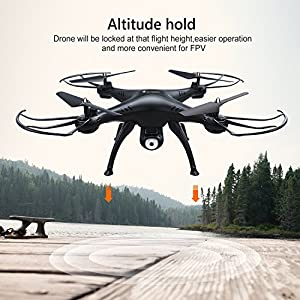 AMZtronics WiFi FPV Drone, T20CW Wireless 2.4Ghz RC Quadcopter RTF Altitude Hold UFO with est Hover, 720P HD Camera ,3D Flips Function, One-Key Taking-off/Landing from AMZtronics
