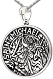Men's 1in Double Sided 0.925 Sterling Silver Saint Michael Medal Pendant 3.3mm Cable Necklace, 24''