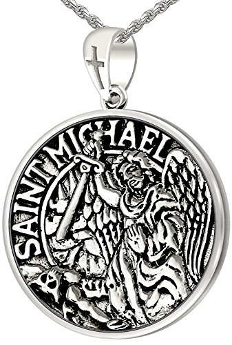Men's 1in Double Sided 0.925 Sterling Silver Saint Michael Medal Pendant 3.3mm Cable Necklace, 24