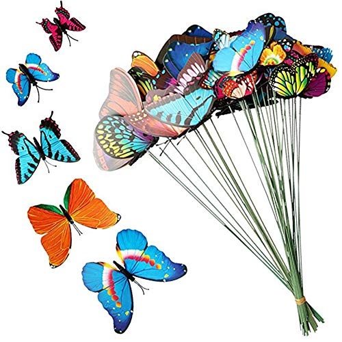 Jiabetterniu 20 Pcs Butterfly Stakes Butterflies On Sticks Patio Decor Garden Decoration Planter Colorful Whimsical Butterfly Ornaments for Yard Flower Pot Butterfly Party Supplies Crafts by -