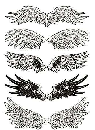 Set of 2 Waterproof Temporary Fake Tattoo Stickers Cool Black Grey Angel  Wings Classic
