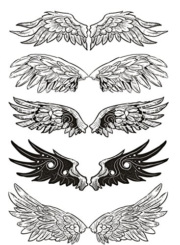 Set of 2 Waterproof Temporary Fake Tattoo Stickers Cool Black Grey Angel Wings - Angel Temporary Tattoo
