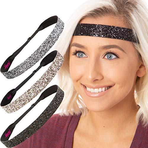 Hipsy Women's Adjustable NO Slip Bling Glitter Wide Cute Headband Gift Packs (Wide Black/Rose Gold/Gunmetal 3pk)