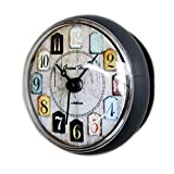 Laugh Cat European Vintage Small Waterproof Round Clock For Bathroom Suction Up Mirror Window Clock