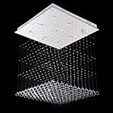 Cheap 7PM W24″ X H24″ Square Rain Drop Clear LED K9 Crystal Chandelier