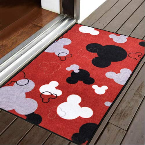 "J.Ehonace Mickey Mouse Rugs - Bathroom Rug, Indoor Outdoor Entrance Rug, Kitchen Rug, 17"" x 30"" (Red)"