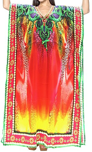 LA LEELA 3D Printed Kaftan Beach Cover up Lounge Caftan Multicolor_V554 14-22W