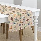 Table Runner - Butterfly Moth Cactus Desert Spirit Animal Insect Peach by Katebillingsley - Cotton Sateen Table Runner 16 x 108