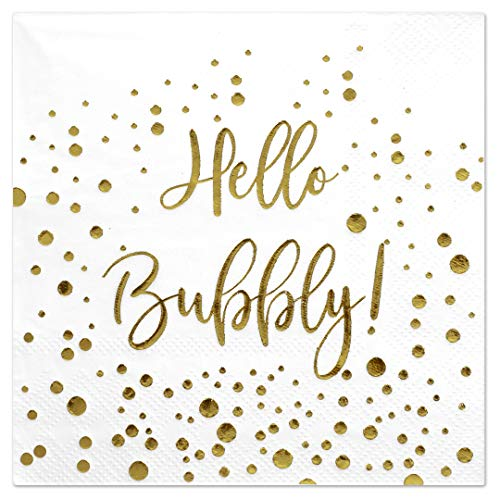 - Andaz Press Hello Bubbly, Funny Quotes Cocktail Napkins, Gold Foil, Bulk 50-Pack Count 3-Ply Disposable Fun Beverage Napkins for Birthday Party, Holiday, Thanksgiving, Christmas, New Year's Eve Bar