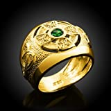 14k Yellow Gold Trinity Knot Band Emerald Celtic Cross Ring for Men