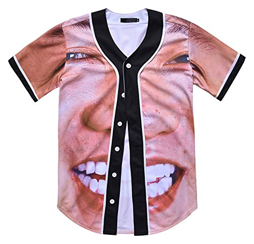 PIZOFF Unisex Arc Bottom 3D Smile Face Print Baseball Team Jersey Shirt Y1724-91-S ()